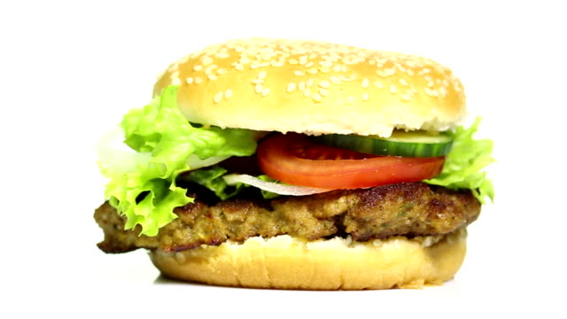 burger on white background - ketchup stock videos and b-roll footage