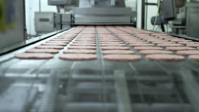burger production line - food processing plant stock videos & royalty-free footage