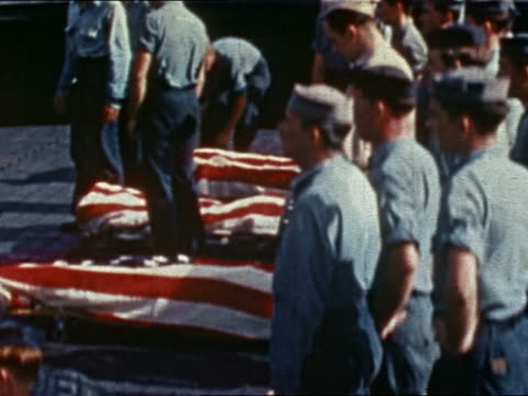 WWII burial at sea ceremony on USS Yorktown / Pacific Ocean