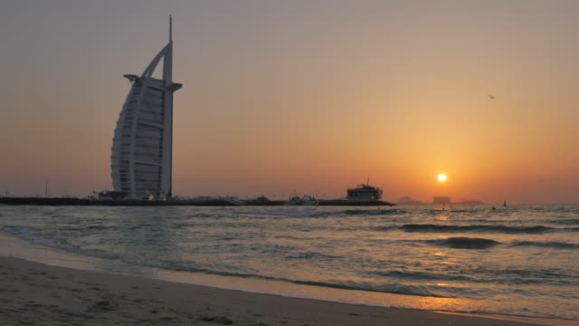 Burj Al Arab Hotel from Jumeirah Beach at sunset, Dubai, United Arab Emirates, Middle East, Asia