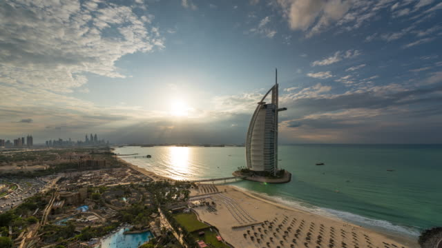 burj al arab sunset dubai - dubai stock videos & royalty-free footage