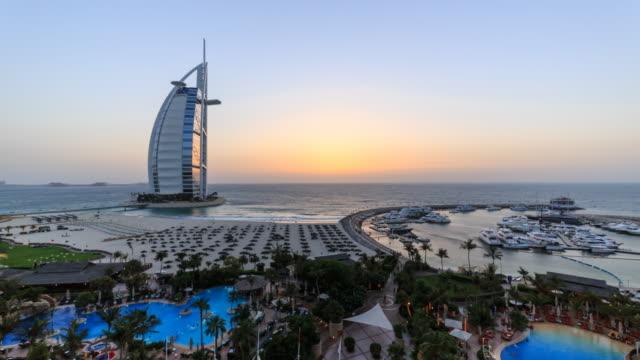 Burj Al Arab, sunset time lapse, Dubai