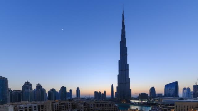 burj khalifa and dubai cityscape - burj khalifa stock videos & royalty-free footage