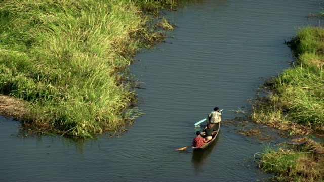 Burma-Myanmar : Canoe in the marshes