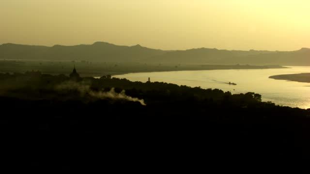 burma-myanmar : temple behind the river - myanmar stock videos & royalty-free footage