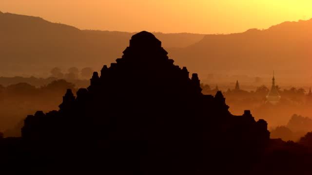 burma-myanmar : temple in the mist - myanmar video stock e b–roll