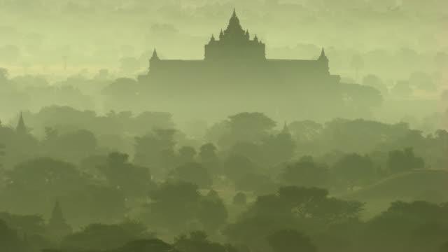 burma-myanmar : temple in the mist - bagan stock videos & royalty-free footage