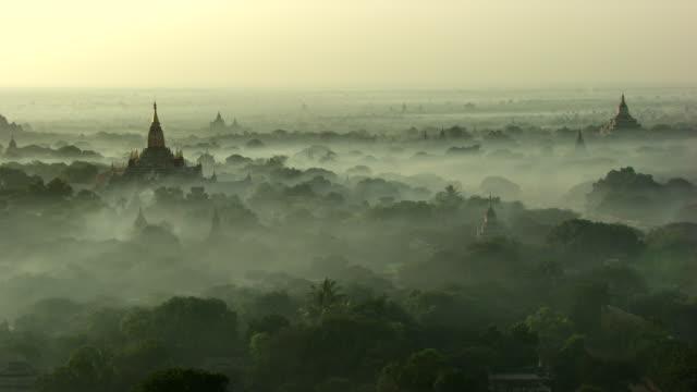 burma-myanmar : temple in the mist - myanmar stock videos & royalty-free footage