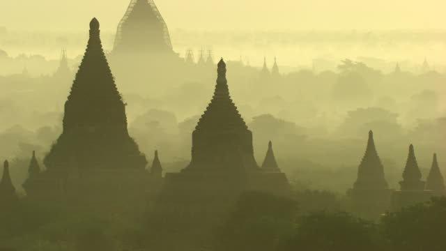 burma-myanmar : temple in the mist - myanmar stock videos and b-roll footage
