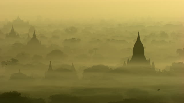 Burma-Myanmar : Temple in the yellow mist