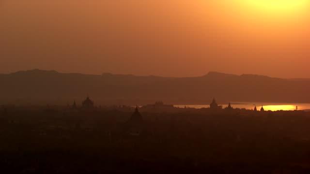burma-myanmar : temples at sunset - bagan stock videos & royalty-free footage
