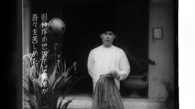burmese doctor ba maw reads a message that states that japan has liberated burma from american and british oppression and that the burmese people... - myanmar stock videos & royalty-free footage