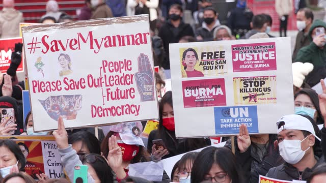 burmese people and supporters rally in manhattan's times square on march 20, 2021 to denounce the 2021 myanmar coup d'état which began on the morning... - number 3 stock videos & royalty-free footage