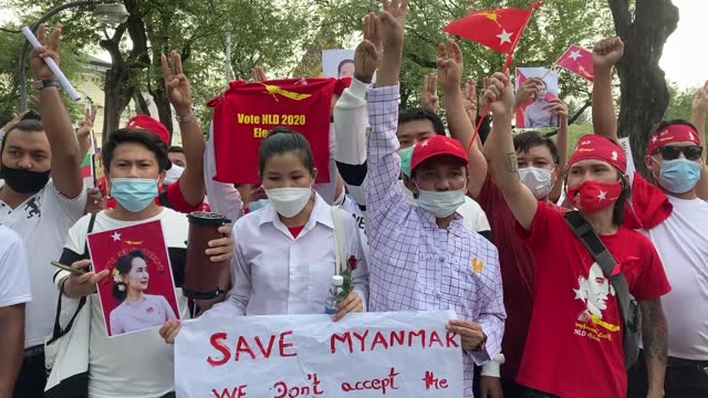 burmese people protest against the myanmar coup in front of the myanmar embassy on february 07, 2021 in bangkok, thailand. the united nations... - democracy stock videos & royalty-free footage