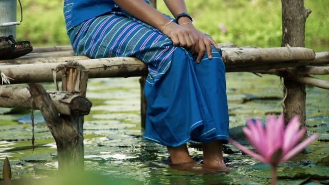 m/s burmese teenage girl wetting her feet in a pond - lotus water lily stock videos and b-roll footage