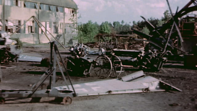 ds burned destroyed wreckage from luftwaffe airfield supplies and hanger / germany - luftwaffe stock videos and b-roll footage