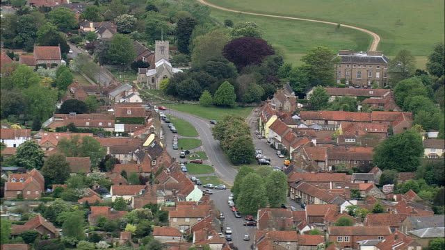 burnham market  - aerial view - england, norfolk, king's lynn and west norfolk district, united kingdom - norfolk england stock videos & royalty-free footage