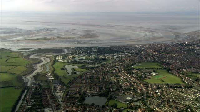 burnham-on-sea - aerial view - england, somerset, sedgemoor district, united kingdom - mud flat stock videos and b-roll footage