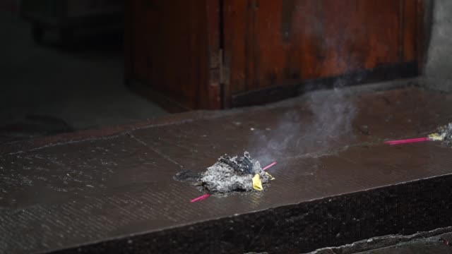 burning ash as sacrifice in fenghuang ancient town, hunan, china - traditional ceremony stock videos & royalty-free footage