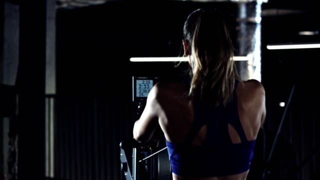 burning calories on rowing machine - rowing machine stock videos & royalty-free footage