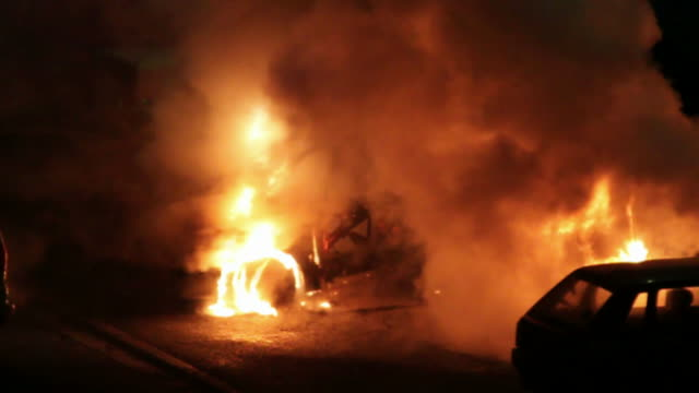 burning car in the night - burning stock videos & royalty-free footage