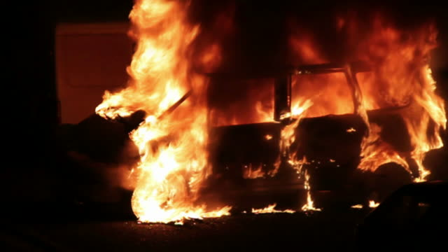 burning car in the night - extinguishing stock videos and b-roll footage