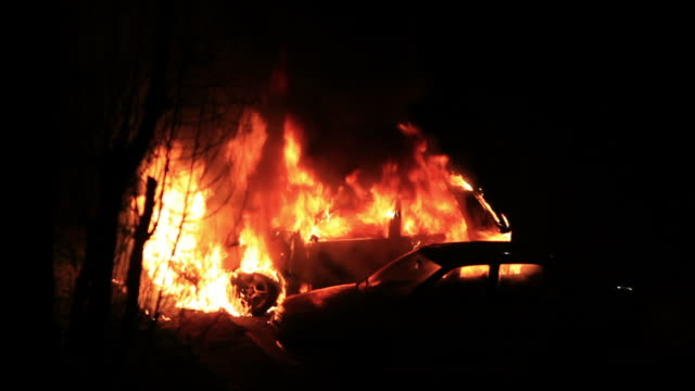 Burning car in the night