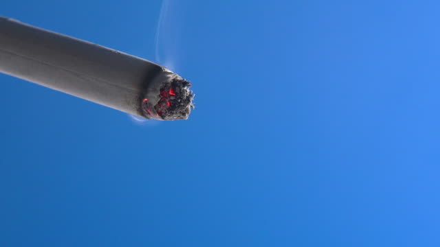 burning cigarette against blue background, real time - sigaretta video stock e b–roll