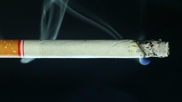 brennende zigarette rauch auf schwarz - klammer stock-videos und b-roll-filmmaterial