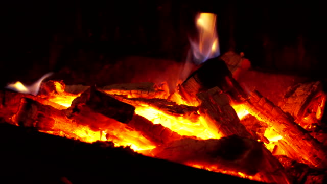 burning fire in fireplace - open fire stock videos & royalty-free footage