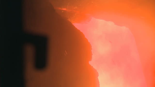 CU Burning fire in steel factory beside blast furnace at Thyssen Steel AG / Duisberg, North Rhine-Westphalia, Germany