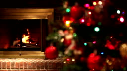 Burning Fireplace Shifting Focus to Decorated Christmas Tree