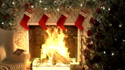 A burning fireplace with a lighted Christmas tree and garlands. The Concept of Christmas. Looped animation.