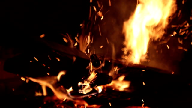 Burning firewood in the fireplace.