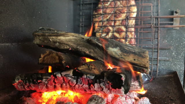 burning flames cooking the lamb meat - meat chop stock videos and b-roll footage