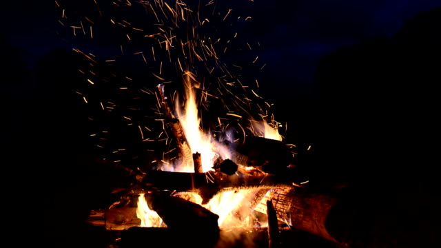 Burning Flames in natural fireplace VIDEO