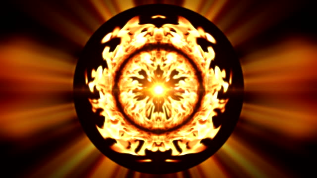 vídeos de stock, filmes e b-roll de burning flames radiate bright colors from a sphere. - concêntrico