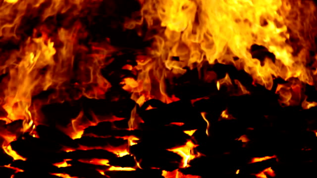 Burning funeral pyre of dead person
