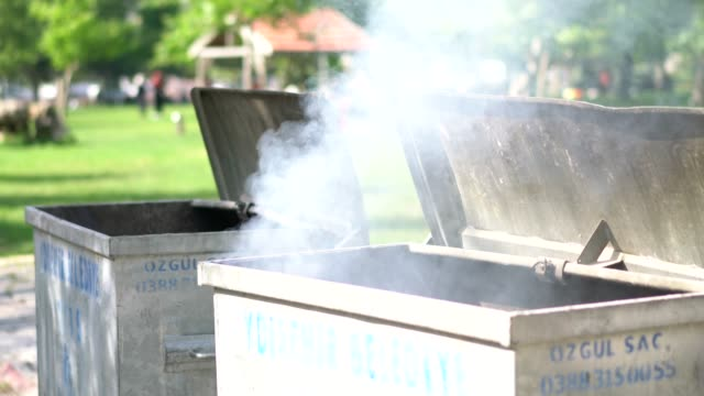 burning garbage containers - trash can stock videos and b-roll footage