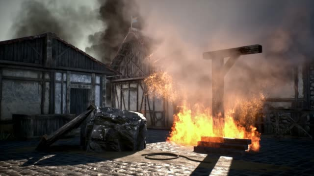 burning hanging gallows in medieval village - chiesa video stock e b–roll