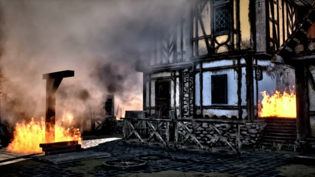 burning hanging gallows in medieval village - hanging gallows stock videos & royalty-free footage
