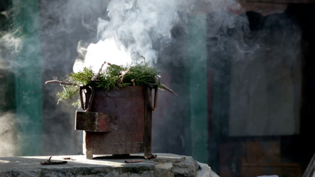 burning incense, nepal - ceremony stock videos & royalty-free footage