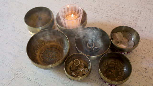 burning incenses and candle - new age stock videos & royalty-free footage