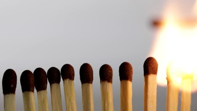 vídeos y material grabado en eventos de stock de quema de fósforos en efecto dominó - potasio