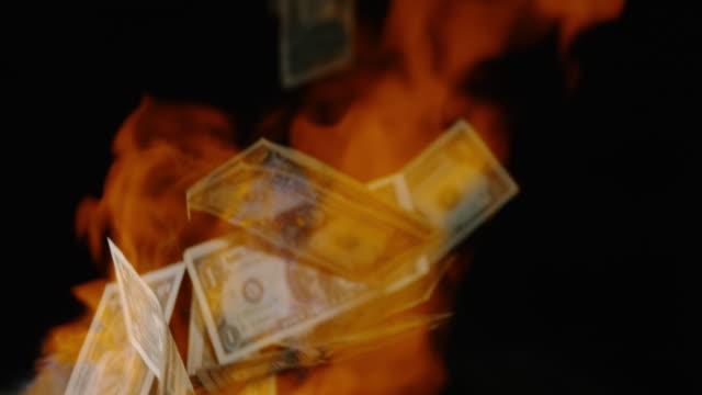 vídeos y material grabado en eventos de stock de slo mo quemar dinero - billete de cinco dólares estadounidense