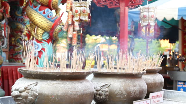 Burning of incense in pot.