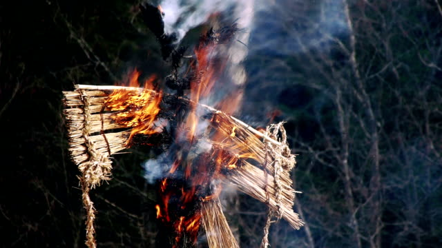burning of maslenitsa scarecrow - paganism stock videos and b-roll footage