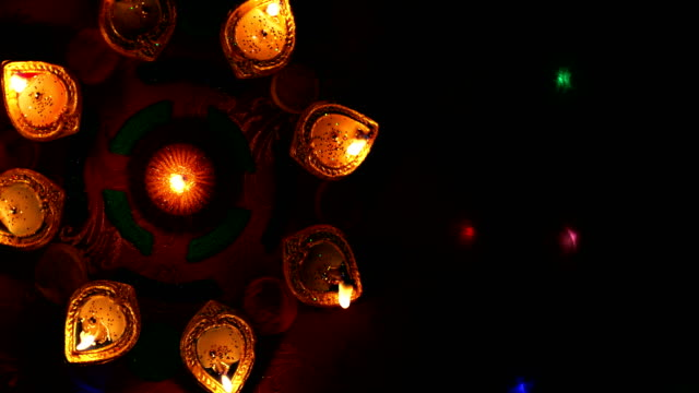 burning oil lamps, delhi, india - oil lamp stock videos & royalty-free footage