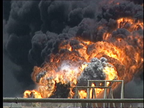 burning oil well - kuwait stock videos and b-roll footage