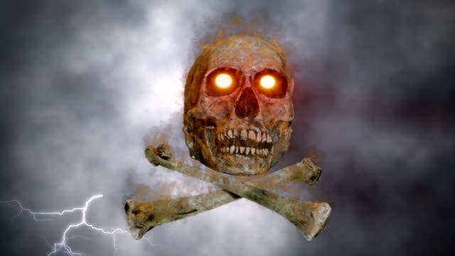 vídeos de stock e filmes b-roll de burning crânio e ossos - música heavy metal